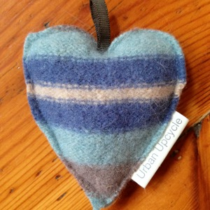 Upcycled Wool Lavender Heart Key Ring