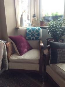 Bergère chair, handmade quilt tweed cushion